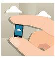 Mini Smartphone in Finger vector image