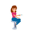 mother sitting on chair and feeding baby woman vector image vector image