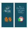 mug and cookies are congratulated on new year vector image