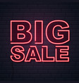 neon sign big sale on brick wall background vector image