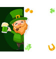 patrick with a glass green beer and a smoking vector image vector image
