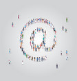 people crowd gathering in email address icon shape vector image vector image