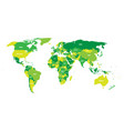 political map of world in green scheme with vector image vector image