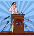 pop art business woman on mass media interview vector image