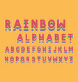 rainbow bold font alphabet vector image vector image