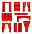 realistic luxury red curtains set vector image