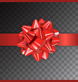 red realistic glossy ribbon bow on transparent vector image vector image