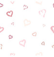 seamless pattern with hand drawn pink heart on vector image vector image