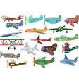 set airplanes transport aircraft silhouettes vector image