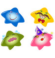 set of funny smileys in the form stars emotions vector image