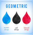 Set of geometric icons water oil and blood drops vector image