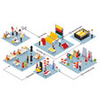 sewing factory isometric flowchart vector image