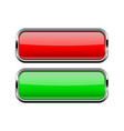 square glass buttons with chrome frame red and vector image
