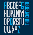 tall condensed capital english alphabet letters vector image