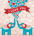 Two cute enamored elephants in love Valentines day vector image