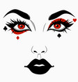 woman face with joker makeup vector image vector image