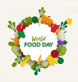 world food day card of flat vegetable icons vector image vector image