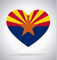 arizona az state flag in heart shape symbol vector image vector image