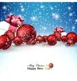 beautiful christmas balls and gifts on snow vector image