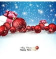 Beautiful Christmas red balls and gifts on snow vector image