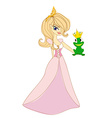 Beautiful young princess kissing a big frog vector image