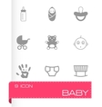 black baby icons set vector image