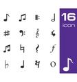 black notes icon set vector image vector image