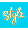 bright yellow lettering style on blue bac vector image vector image