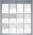 Calendar 2017 Templates with Hand Drawn Patterns vector image