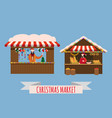 christmas market stalls canopy seller with with vector image vector image