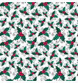 christmas seamless pattern with mistletoe new vector image