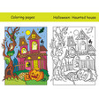 coloring halloween haunted house with colored vector image