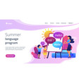 computer programming camp concept landing page vector image vector image