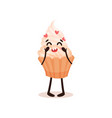 cute cupcake with funny face humanized dessert vector image vector image