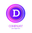 d letter logo design d icon colorful and modern vector image