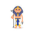 egyptian pharaoh with scepter and ankh cross vector image