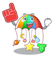 foam finger baby playing with cartoon hanging toys vector image