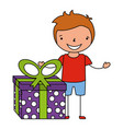 happy boy with gift box vector image