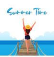 happy girl on beach summer vibes vector image