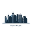 indianapolis skyline monochrome silhouette vector image vector image
