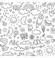 kids doodle pattern children pattern in black vector image vector image