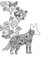 line dog animal with ornamental and rustic flowers vector image