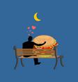 lover fast food man and hamburger sitting on vector image vector image