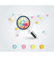 magnifier on a stylized map vector image vector image