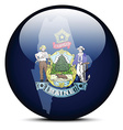 Map on flag button of USA Maine State vector image vector image