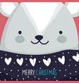 merry christmas celebration cute bear head vector image vector image