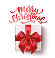 merry christmas lettering with bow ribbon vector image