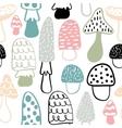 Mushroom seamless pattern modern doodle vector image vector image