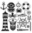 nautical set of objects and design elements vector image