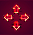 neon arrow up down left and right vector image vector image